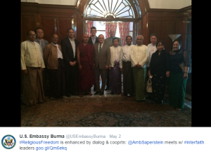 Ambassador Rabbi Saperstein in Burma meeting with mostly men to learn about religious freedom, including laws that target women's rights and nationalist groups that silence women. Oh, the irony.